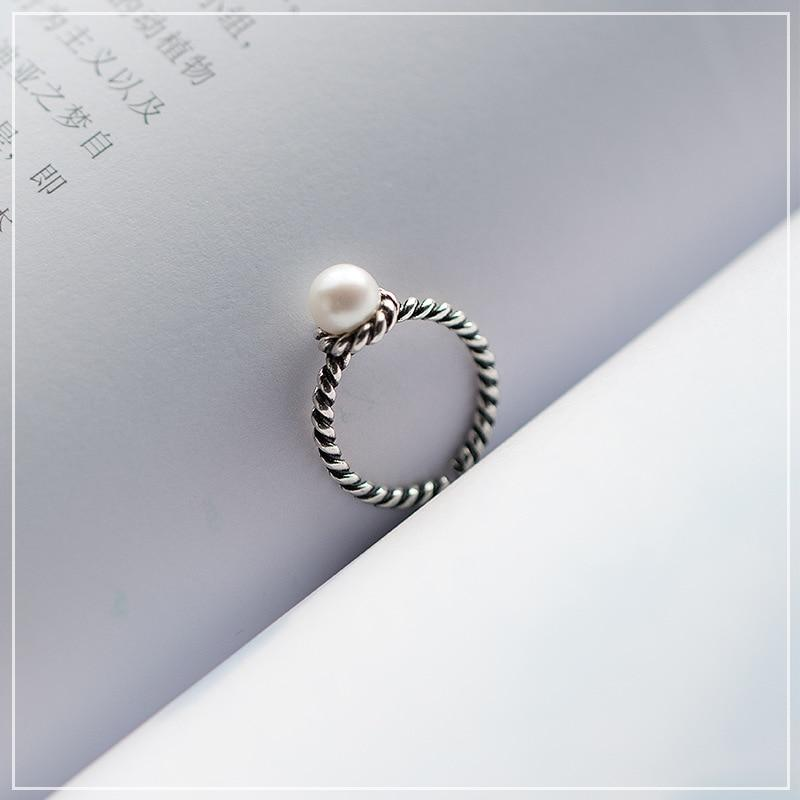 Sterling Silver Vintage Woven Twisted Pearl Ring - 925 Real Ring Set - Adjustable Twisted Rings Lux & Rose A Resizable