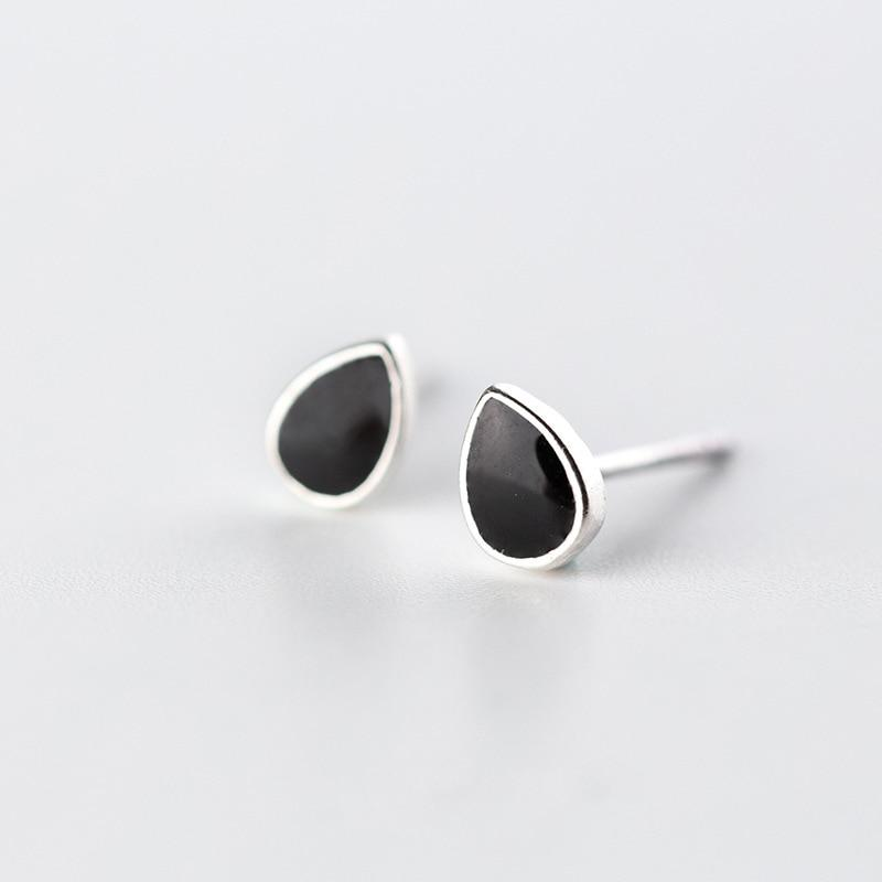 Sterling Silver Water Drop Black Stud Earrings - 925 Stud Earrings - 925 Real Silver Earrings - Playful Silver Earrings - Feminine Silver Earrings Lux & Rose
