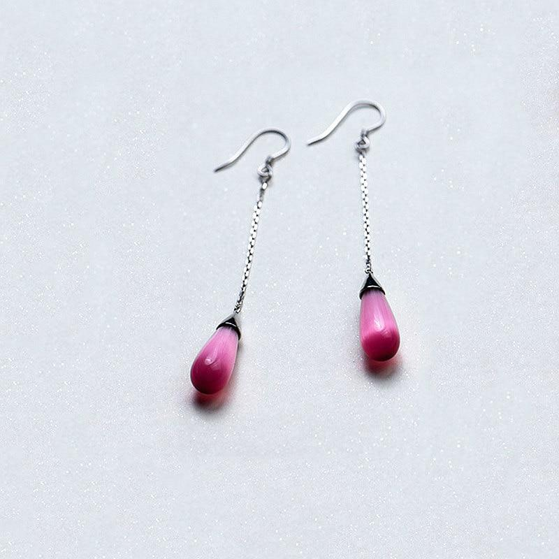 Sterling Silver Water Drop Chain Earrings - Pink Drop Earrings - Long Blue Drop Earrings - Dangling Drop Earrings Lux & Rose Red