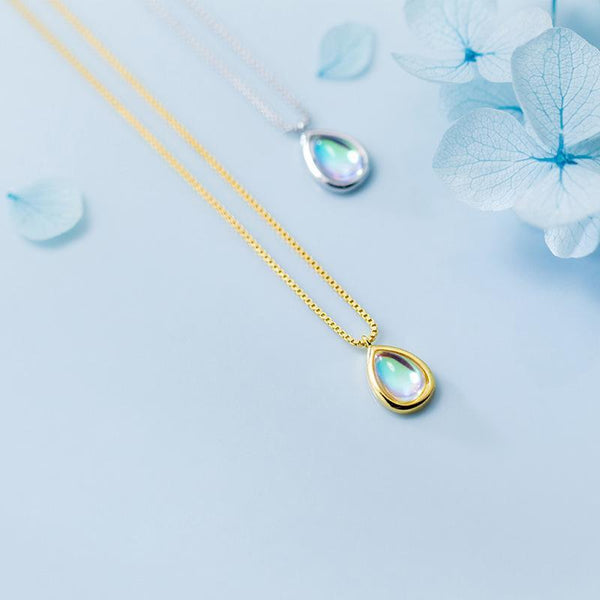 Sterling Silver Water Drop Classic Necklace - 925 Real Silver Necklace - Gold Plated Drop Necklace Lux & Rose