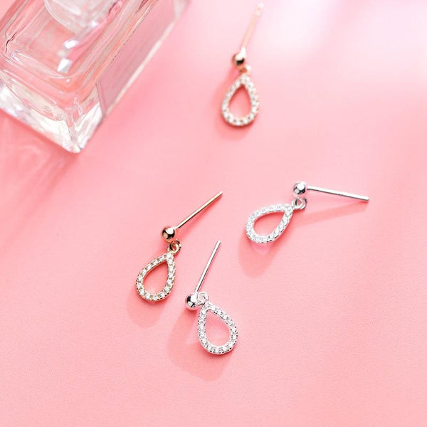 Sterling Silver Water Drop Earrings - Dangle Tear Drop Earrings - 925 Real Silver Earrings - Playful Silver Earrings Lux & Rose