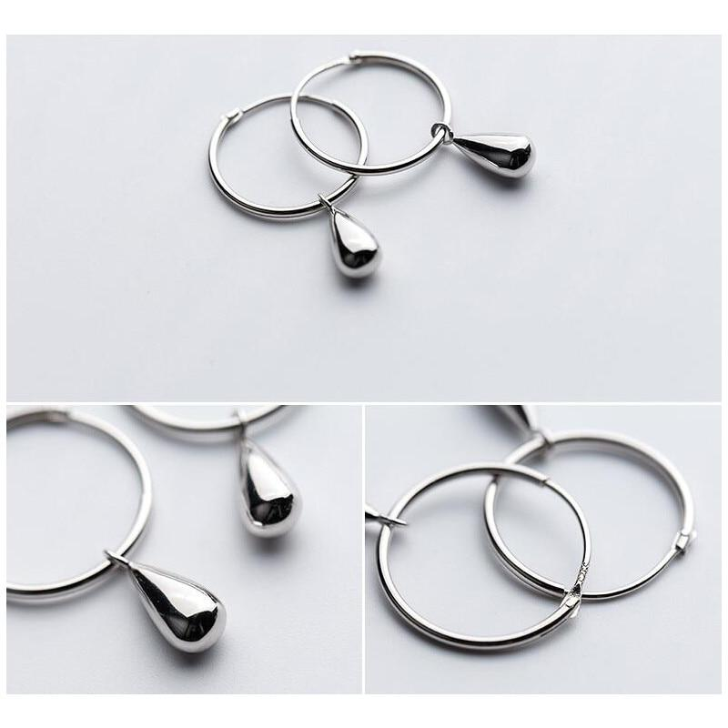 Sterling Silver Water Drop Hoop Earrings - 925 Real Silver Earrings - Playful Silver Earrings - Hollow Round Earrings Lux & Rose