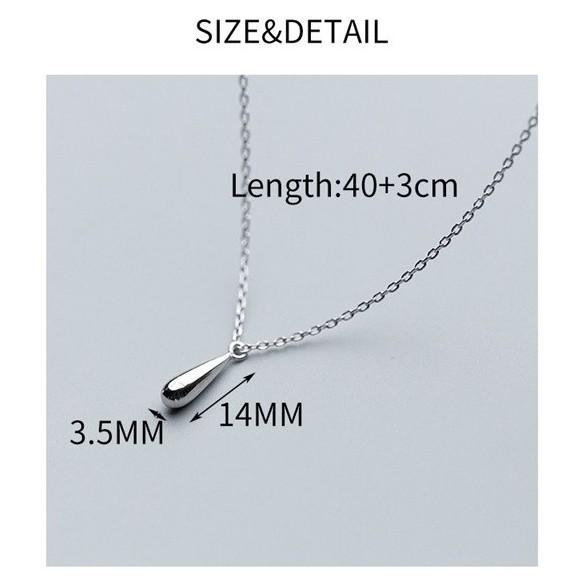 Sterling Silver Water Drop Pendant Necklace - 925 Real Silver Necklace - Classic Silver Necklace Lux & Rose
