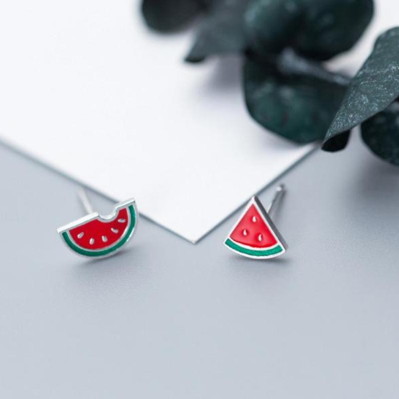 Sterling Silver Watermelon Stud Earrings - 925 Stud Earrings - 925 Real Silver Earrings - Playful Silver Earrings - Cute Silver Earrings Lux & Rose