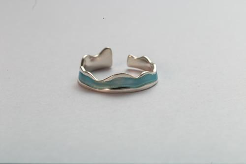 Sterling Silver Wave Bird Ocean View Couple Rings - 925 Real Silver Ring Set - Adjustable Silver Rings - Ocean Wave Ring - Friendship Rings Lux & Rose