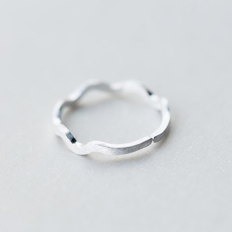 Sterling Silver Wave Ring - 925 Real Silver Ring - Classic Silver Ring - Adjustable Cocktail Ring Lux & Rose