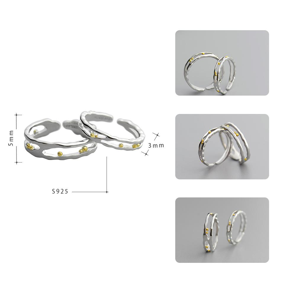 Sterling Silver Waves Gold Beads Rings - 925 Real Silver Couple Rings - Classic Silver Rings - Wedding Bands Rings Lux & Rose