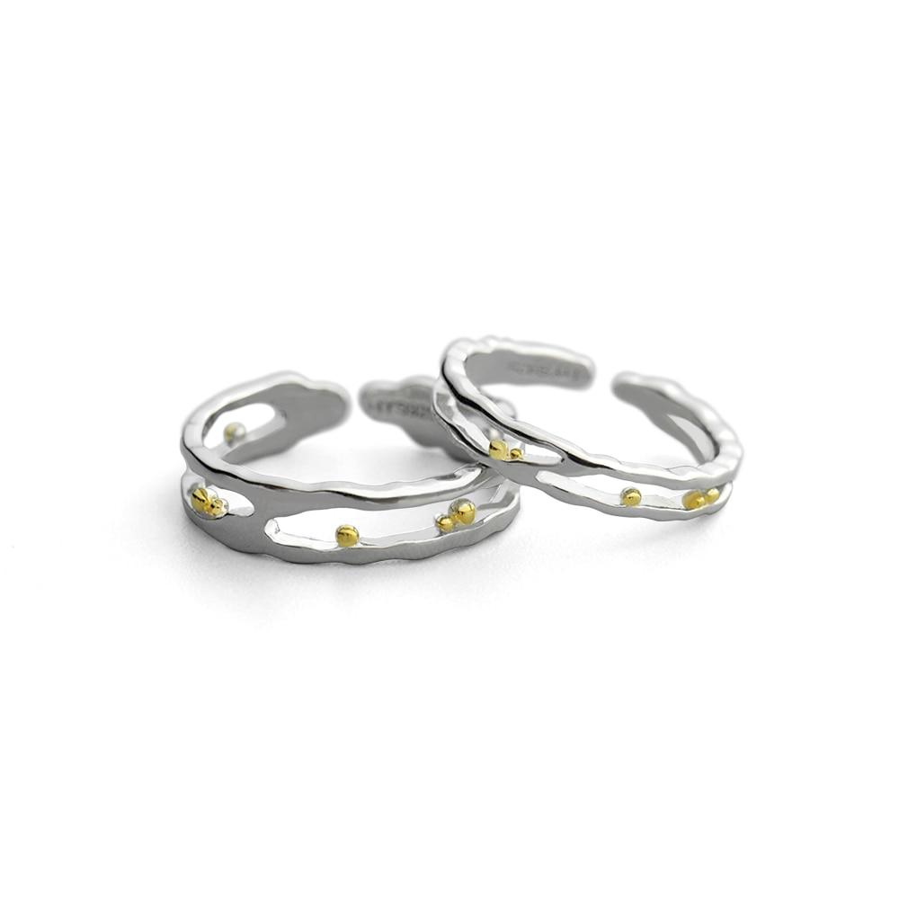 Sterling Silver Waves Gold Beads Rings - 925 Real Silver Couple Rings - Classic Silver Rings - Wedding Bands Rings Lux & Rose pair Resizable
