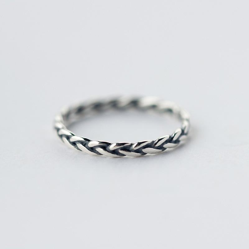 Sterling Silver Weaving Ring - 925 Real Silver Ring - Classic Silver Ring - Adjustable Cocktail Ring Lux & Rose