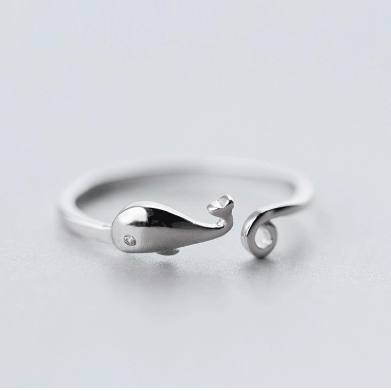 Sterling Silver Whale Ring - 925 Real Silver Fish Ring - Adjustable Silver Ring - Cute Animal Rings Lux & Rose