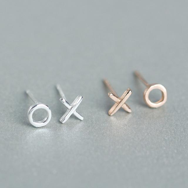 Sterling Silver X and O Kiss Stud Earrings - 925 Asymmetrical Stud Earrings - 925 Real Silver Earrings - Playful Silver Earrings Lux & Rose 1Pair Rose