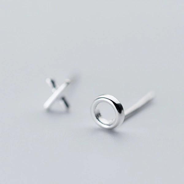 Sterling Silver X and O Kiss Stud Earrings - 925 Asymmetrical Stud Earrings - 925 Real Silver Earrings - Playful Silver Earrings Lux & Rose