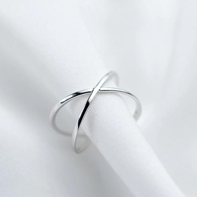 Sterling Silver X Hollow Cross Ring - 925 Real Silver Ring - Classic Silver Ring - Adjustable Cocktail Ring Lux & Rose