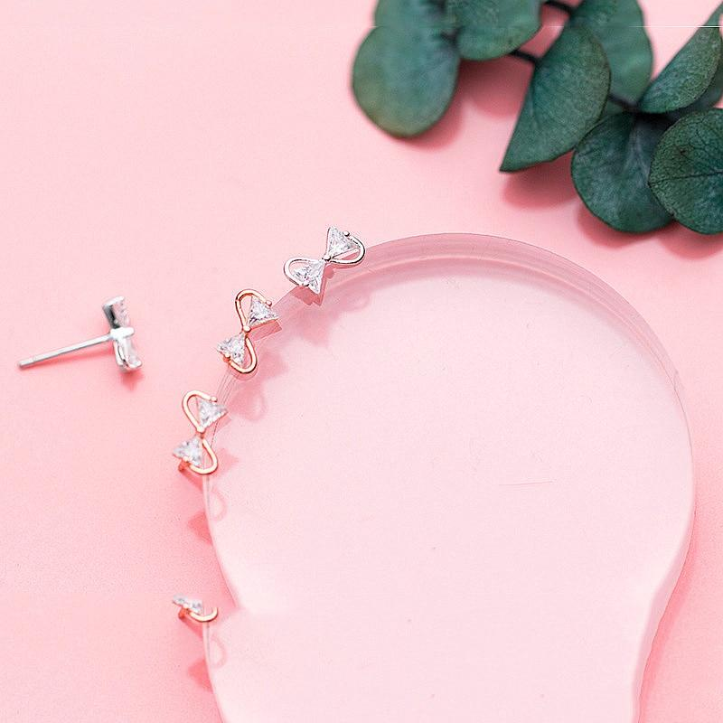 Sterling Silver Zircon Bow Earrings - 925 Stud Earrings - 925 Real Silver Earrings - Playful Silver Earrings Lux & Rose