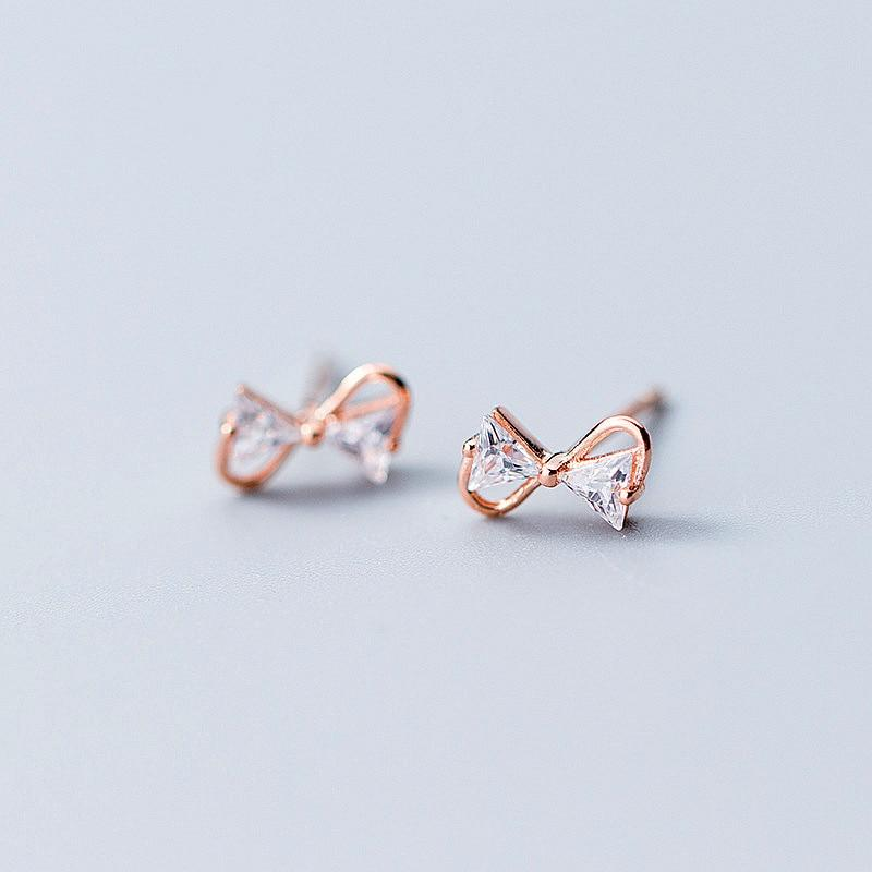 Sterling Silver Zircon Bow Earrings - 925 Stud Earrings - 925 Real Silver Earrings - Playful Silver Earrings Lux & Rose Rose gold