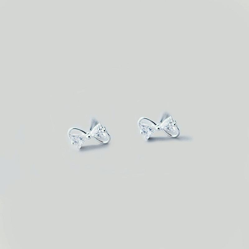 Sterling Silver Zircon Bow Earrings - 925 Stud Earrings - 925 Real Silver Earrings - Playful Silver Earrings Lux & Rose Silver