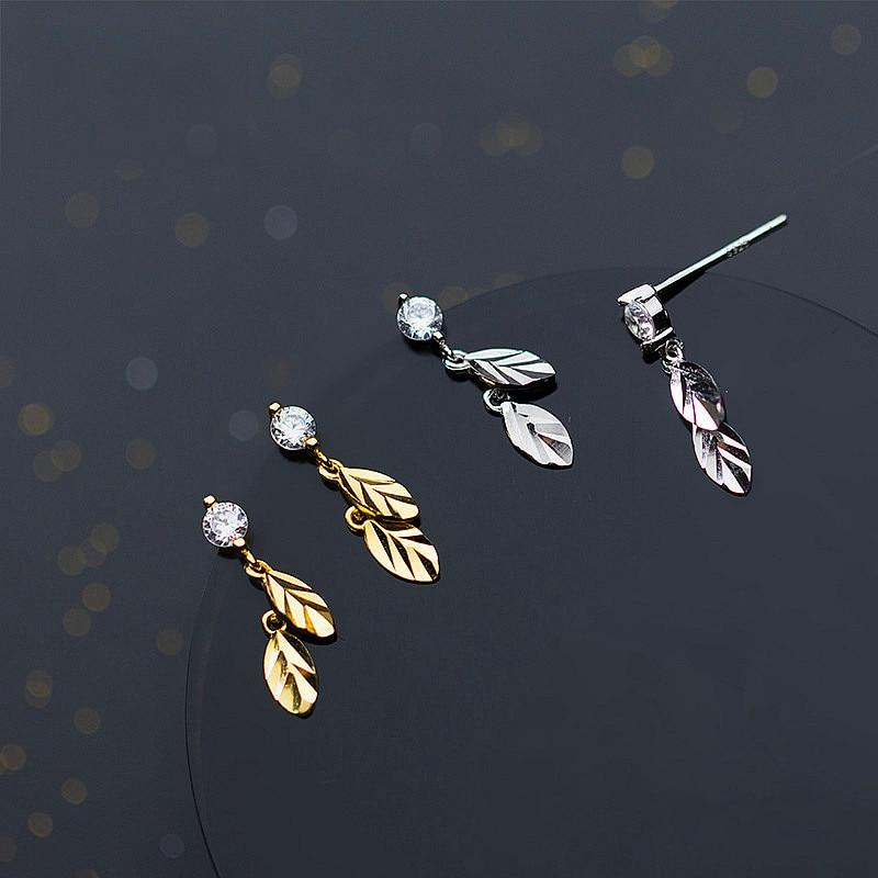 Sterling Silver Zircon Leaf Earrings - Dangle Leaf Earrings - 925 Real Silver Earrings - Playful Silver Earrings Lux & Rose