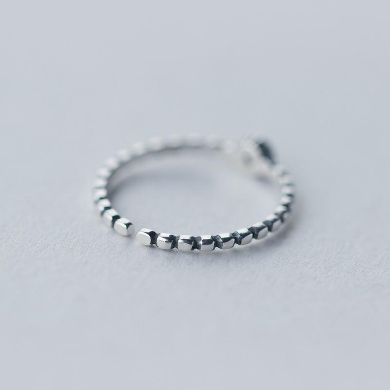 Sterling Silver Zircon Oxidized Stack Ring - 925 Real Silver Ring - Classic Silver Ring - Adjustable Cocktail Ring Lux & Rose
