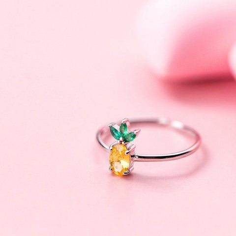 Sterling Silver Zircon Pineapple Ring - 925 Real Silver Ring - Classic Silver Ring - Adjustable Cocktail Ring - Fruit Shape Ring Lux & Rose