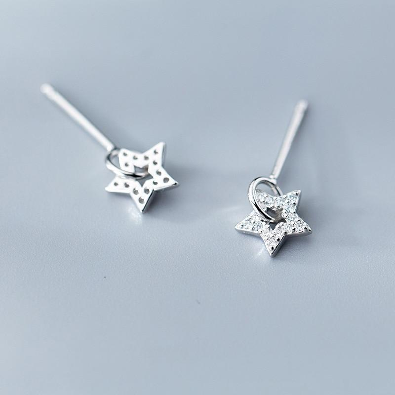 Sterling Silver Zircon Star Earrings - Stud Dangle Earrings - 925 Real Silver Earrings - Playful Silver Earrings Lux & Rose