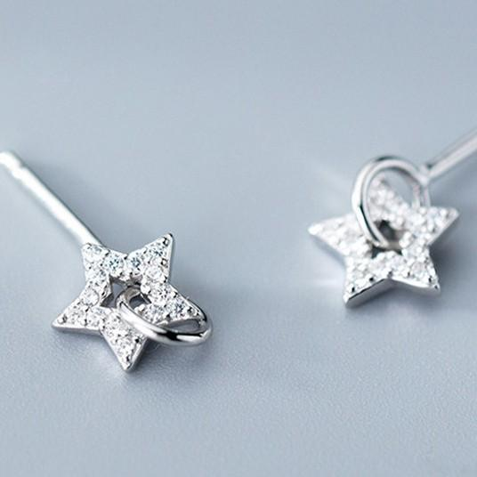 Sterling Silver Zircon Star Earrings - Stud Dangle Earrings - 925 Real Silver Earrings - Playful Silver Earrings Lux & Rose Default Title