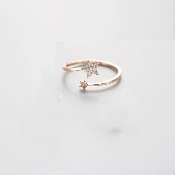 Sterling Silver Zircon Star Ring - 925 Real Silver Ring - Classic Silver Ring - Adjustable Cocktail Ring Lux & Rose