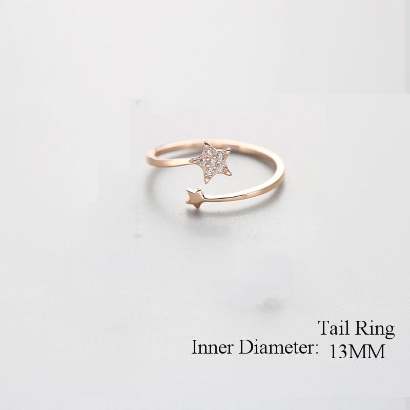 Sterling Silver Zircon Star Ring - 925 Real Silver Ring - Classic Silver Ring - Adjustable Cocktail Ring Lux & Rose Rose Gold Resizable