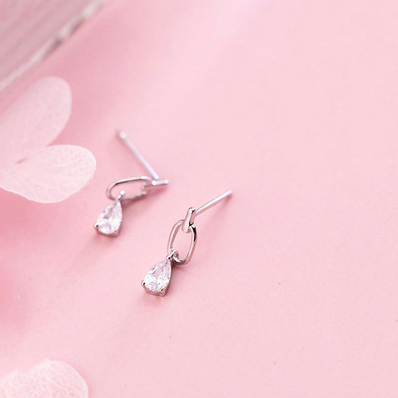 Sterling Silver Zircon Water Drop Earrings - 925 Real Silver Earrings - Playful Silver Earrings - Geometric Oval Earrings Lux & Rose