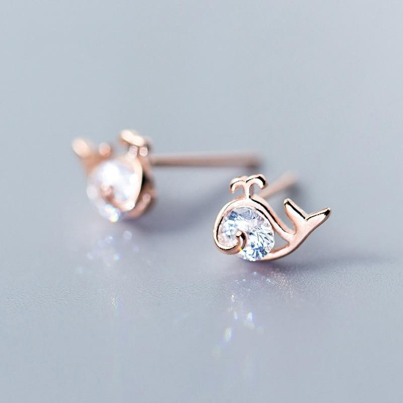 Sterling Silver Zircon Whale Earrings - 925 Stud Earrings - 925 Real Silver Earrings - Playful Silver Earrings Lux & Rose Rose Gold