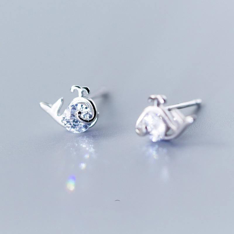 Sterling Silver Zircon Whale Earrings - 925 Stud Earrings - 925 Real Silver Earrings - Playful Silver Earrings Lux & Rose Silver