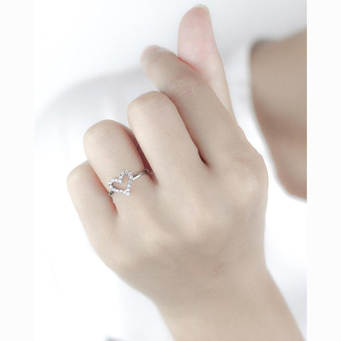 Sterling Silver Zirconia Heart Ring - 925 Real Silver Ring - Classic Silver Ring - Adjustable Cocktail Ring Lux & Rose