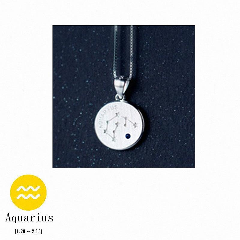 Sterling Silver Zodiac Constellation Pendant Necklace - 925 Real Silver Necklace - Classic Silver Necklace Lux & Rose 1 Aquarius