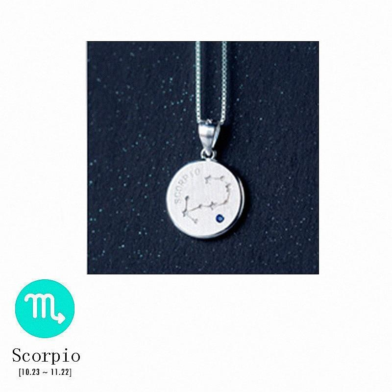 Sterling Silver Zodiac Constellation Pendant Necklace - 925 Real Silver Necklace - Classic Silver Necklace Lux & Rose 10 Scorpio