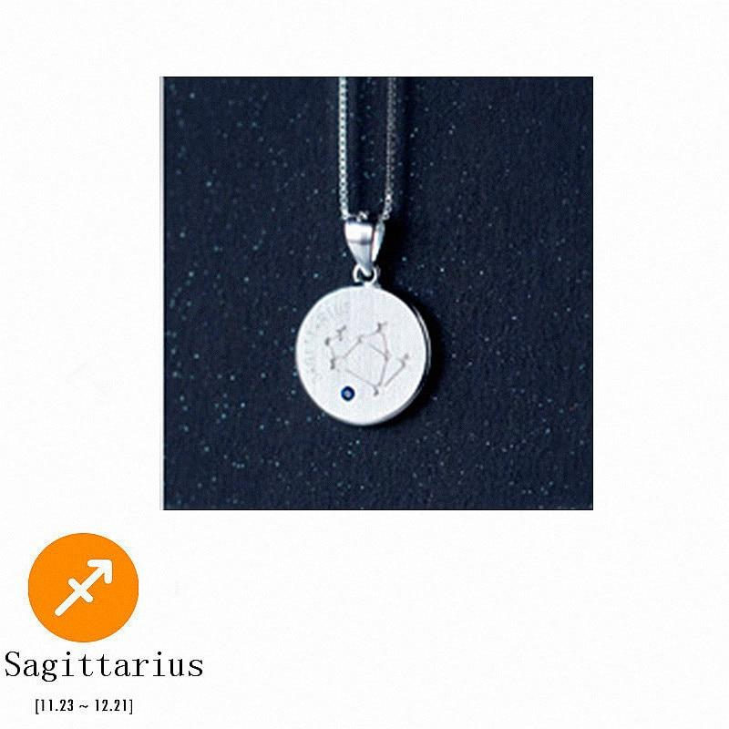 Sterling Silver Zodiac Constellation Pendant Necklace - 925 Real Silver Necklace - Classic Silver Necklace Lux & Rose 11 Sagittarius