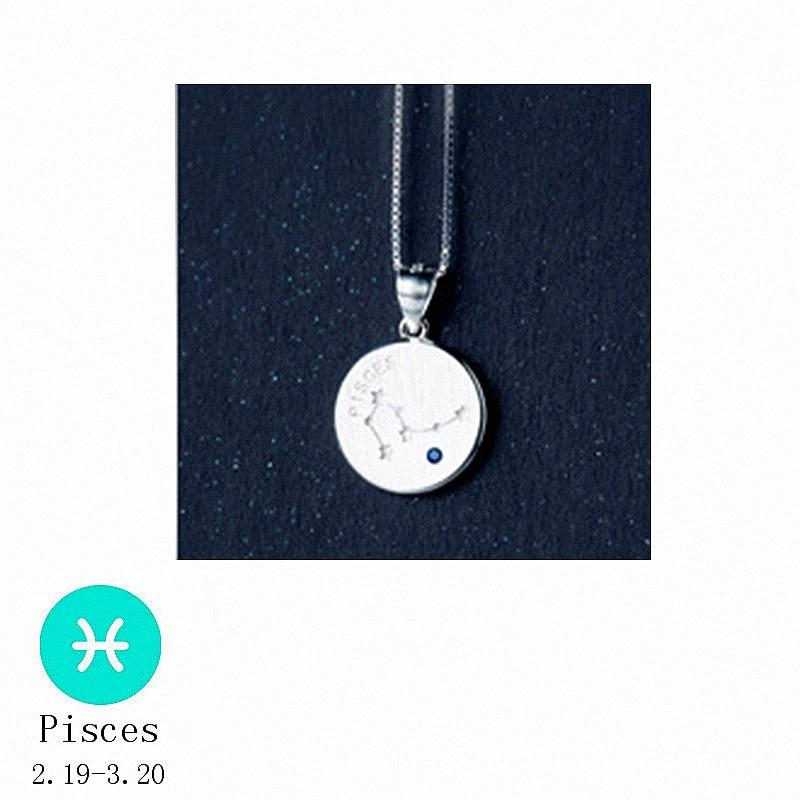 Sterling Silver Zodiac Constellation Pendant Necklace - 925 Real Silver Necklace - Classic Silver Necklace Lux & Rose 2 Pisces