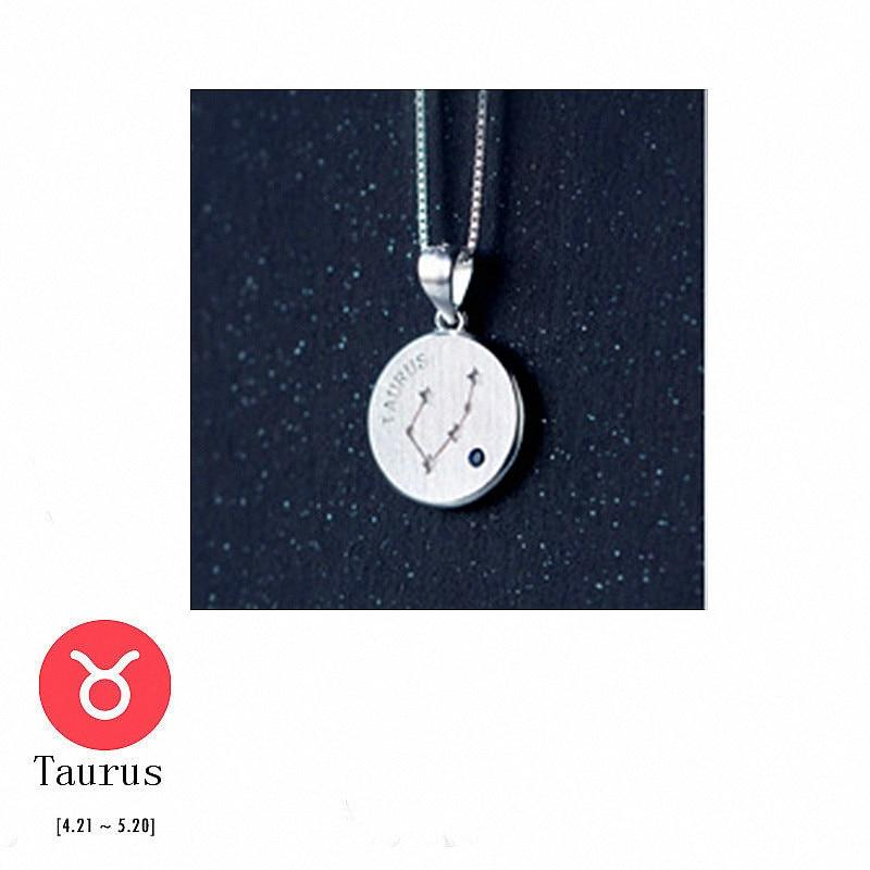 Sterling Silver Zodiac Constellation Pendant Necklace - 925 Real Silver Necklace - Classic Silver Necklace Lux & Rose 4 Taurus