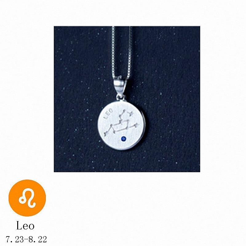 Sterling Silver Zodiac Constellation Pendant Necklace - 925 Real Silver Necklace - Classic Silver Necklace Lux & Rose 7 Leo