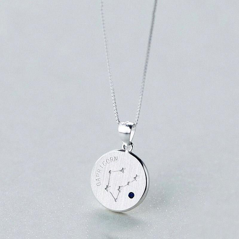 Sterling Silver Zodiac Constellation Pendant Necklace - 925 Real Silver Necklace - Classic Silver Necklace Lux & Rose