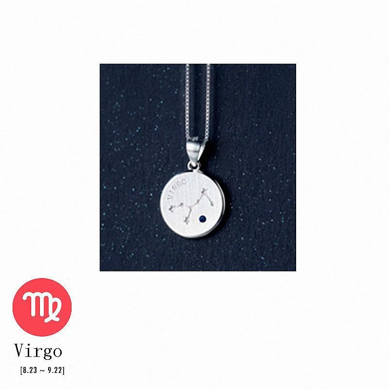 Sterling Silver Zodiac Constellation Pendant Necklace - 925 Real Silver Necklace - Classic Silver Necklace Lux & Rose 8 Virgo