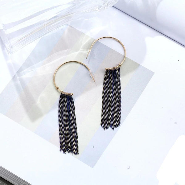 Tassel Decorated C Shape Drop Earrings - Chain Link C Shaped Earrings - Chain Loop Geometric Earrings - C Shaped Tassel Drop Earrings Lux & Rose