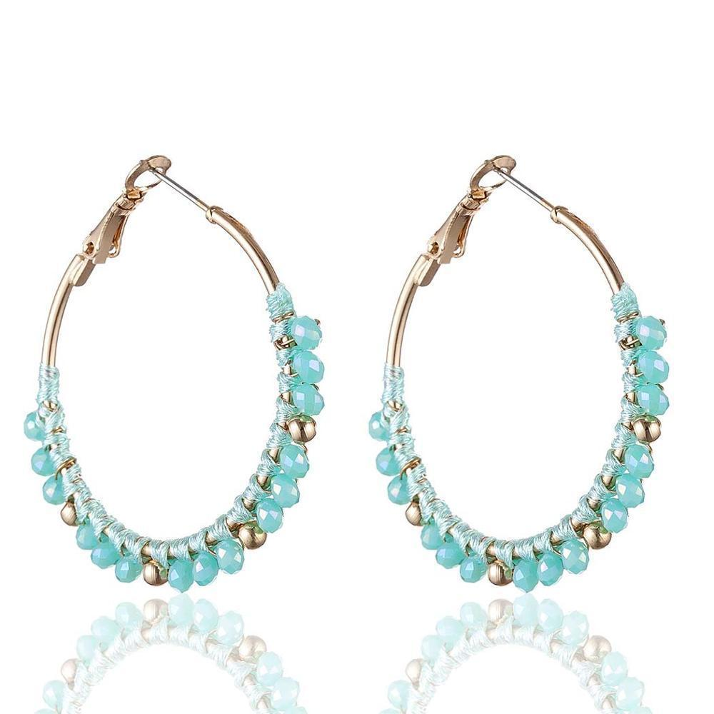 Teardrop Large Hoop Crystal Beaded Earrings - Open Water Drop Beaded Hoop Earrings - Crystal Beads Teardrop Hoop Earrings - Teardrop Big Hoop Earrings - Geometric Beaded Hoop Earrings - Multi Color Teardrop Beads Earrings Lux & Rose