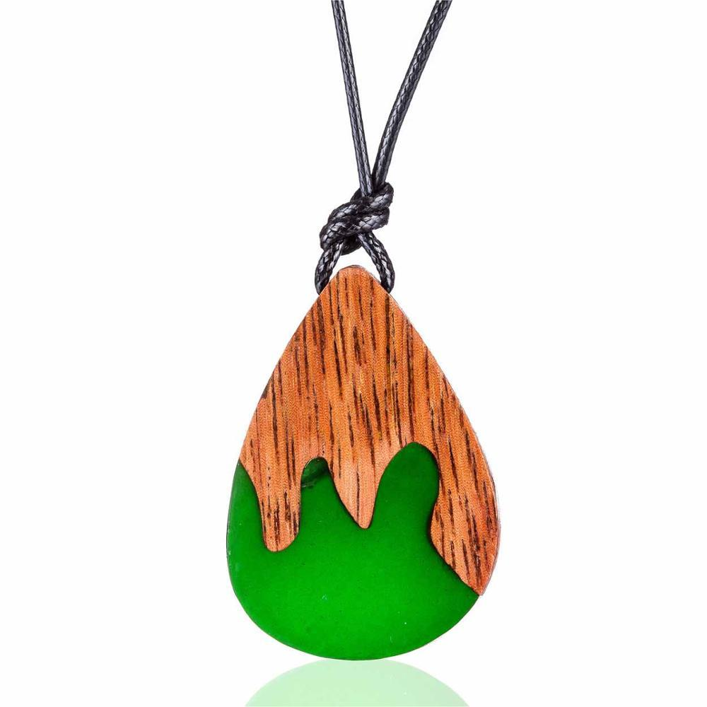 Teardrop Wood Resin Pendant Necklace - Wood Resin Necklace - Long Rope Chain Necklace - Geometric Necklace - Water Drop Resin Wood Pendant Necklace - Tear Drop Wood Resin Necklace - Resin Wood Lux & Rose A