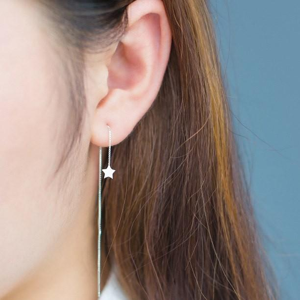 Tiny Star Threader Earrings - 925 Sterling Silver - Long Chain Earrings - Small Star Threaders - Modern Needle Threader Lux & Rose