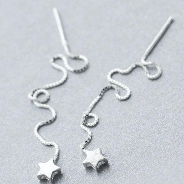 Tiny Star Threader Earrings - 925 Sterling Silver - Long Chain Earrings - Small Star Threaders - Modern Needle Threader Lux & Rose Default Title