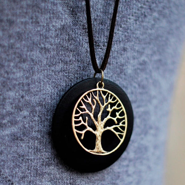 Tree Life Wooden Pendant Necklace - Vintage Wooden Tree Necklace - Long Leather Necklace - Tree Shape Pendant Necklace - Circle Necklace - Drop Pendant Necklace - Geometric Necklace Lux & Rose