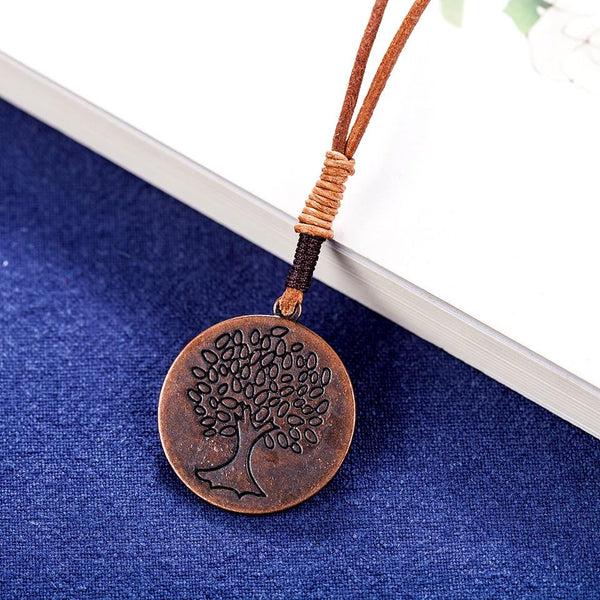 Tree Medallion Pendant Necklace - Tree of Life Necklace - Tree Pendant Statement Necklaces - Pendants Plant Long Necklace Lux & Rose
