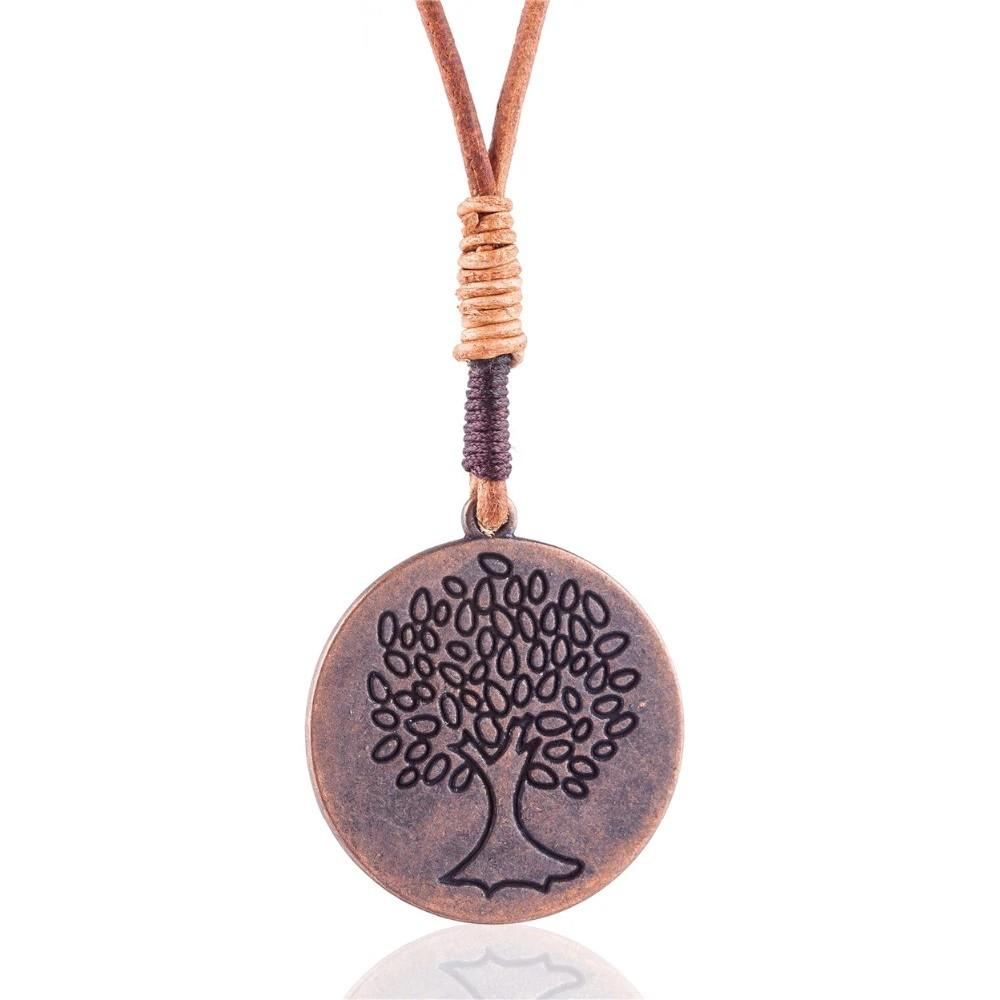 Tree Medallion Pendant Necklace - Tree of Life Necklace - Tree Pendant Statement Necklaces - Pendants Plant Long Necklace Lux & Rose Default Title