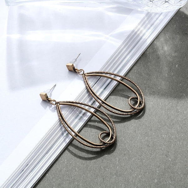 Twisted Wire Teardrop Dangle Earrings - Dangling Earrings - Long Teardrop Earrings - Antique Teardrop Earrings - Bronze Teardrop Earrings - Double Teardrop Earrings - Teardrop Wire Open Hoops Earrings - Handmade Twisted Teardrop Earrings Lux & Rose