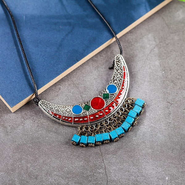 Vintage Ethnic Crescent Tassel Pendant Necklace - Tibetan Pendant Necklace - Crescent Pendant Necklace - Vintage Pendant Necklace - Vintage Crescent Chandelier Necklace - Boho Ethnic Tribal Collar Bib Chain Necklace - Long Chain Necklace Lux & Rose