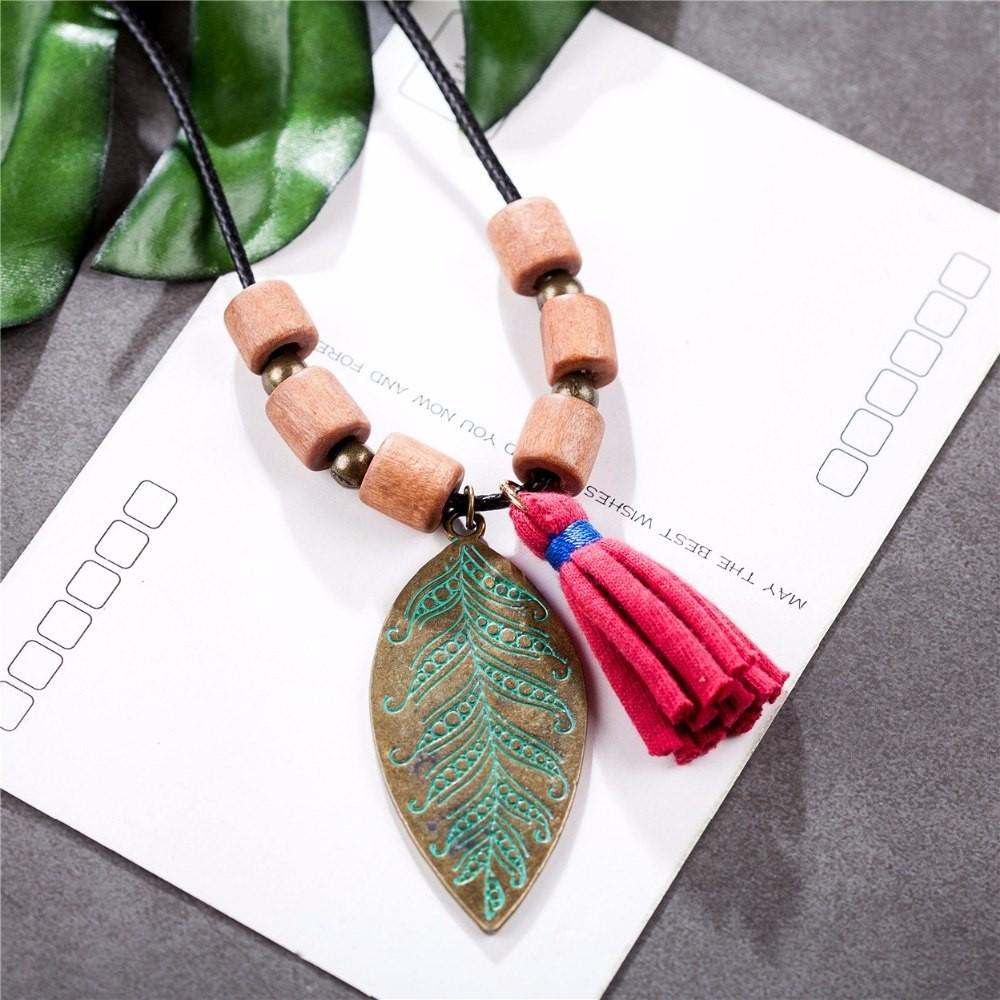 Wooden Beads Leaf Pendant Necklace - Large Leaf Pendant - Chic Leaf Tassel Necklace - Statement Necklaces - Leaf Pendant Long Necklace - Leaf Jewelry Necklace - Pendant Necklace - Leaf Tassel Necklace Lux & Rose